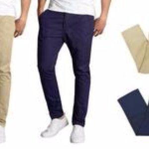 😀Harvic Men's Stretch Chino Pants - Navy 34-32